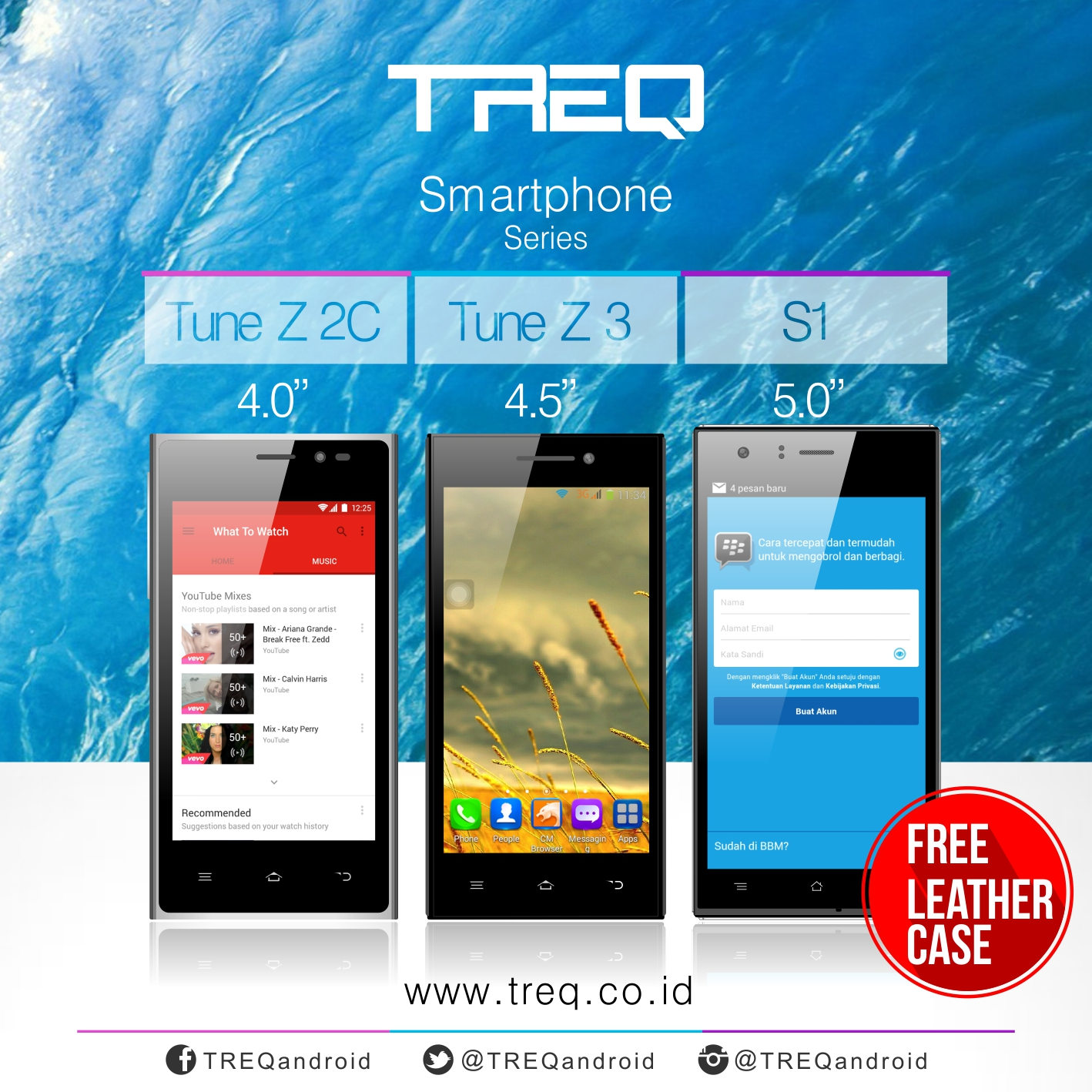 Gratis Leather case Treq S1, Tune Z2C, Z3